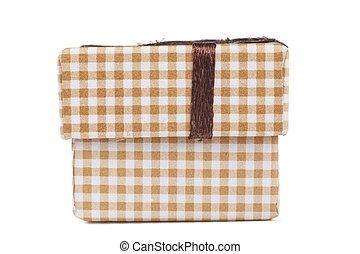 Brown Box - Brown jewelry ring cardboard box with pattern...