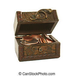 Brown box full of coins