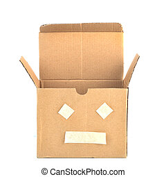 Brown box with face symbol.