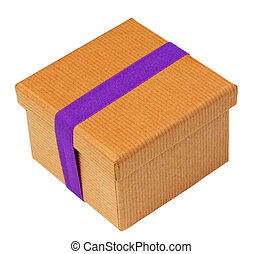 Brown Box With Purple Band on White Isolated background