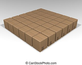 Brown boxes - 3D render of lots of brown boxes