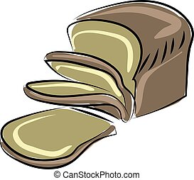Brown bread, illustration, vector on white background.
