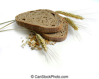 Brown bread, rye ears (spikes) and corn - healthy, natural, diet food. Isolated
