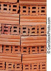 Brown brick background.