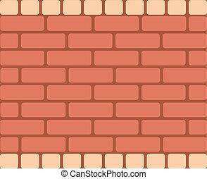 Brown Brick Wall, Horizontal Rectangular Vector - Seamless...