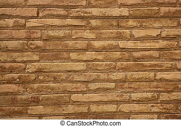 Brown brick wall in cream beige color background - Brown...