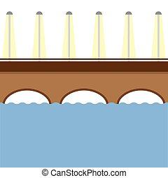 Brown Bridge Over The River Vector.