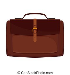 Brown briefcase. Vector illustration on a white background.