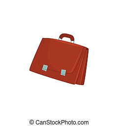 Brown briefcase with two locks cartoon vector Illustration