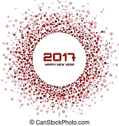 brown bright new year 2017 circle border design on white background light confetti circle new