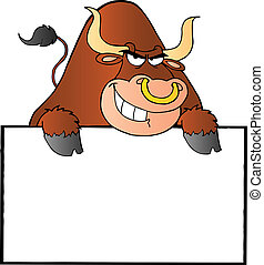 Brown Bull And Blank Sign - Bull Over A Sign Banner Cartoon...