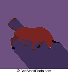 Brown bull icon, flat style