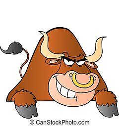 Brown Bull Over A Sign Cartoon Character