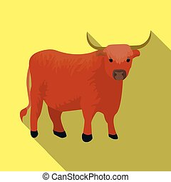 Brown bull with horns. Mountain bull is a symbol of Scotland. Scotland single icon in flat style vector symbol stock illustration.