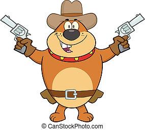 Brown Bulldog Cowboy Character