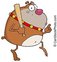 Brown Bulldog With A Bat