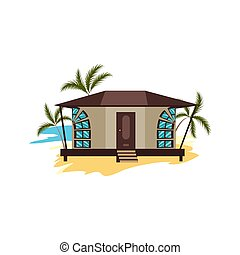 Brown bungalow on beach surrounded by palms vector illustration
