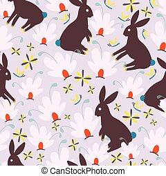 Brown bunnies and pink whimsical flowers seamless pattern background design.