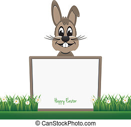 brown bunny hold board happy easter
