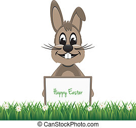 brown bunny hold happy easter board