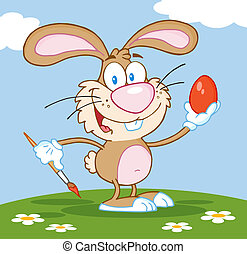 Brown Bunny Painting An Egg