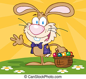 Brown Bunny With Easter Eggs
