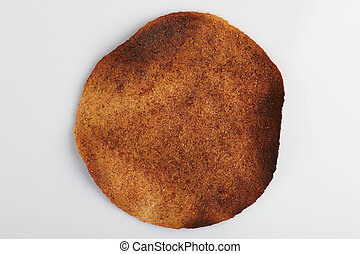 Brown burnt whole tortilla