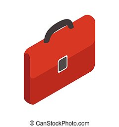 Brown business briefcase icon, isometric 3d style