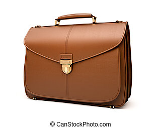 Brown business briefcase isolated