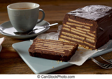 Brown butter biscuit cake with coffee