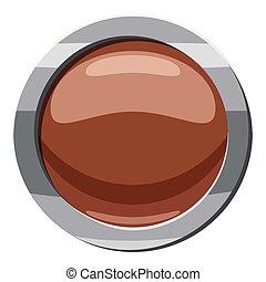 Brown button icon, cartoon style
