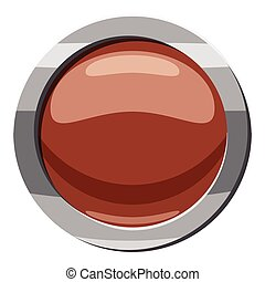Brown button icon, cartoon style