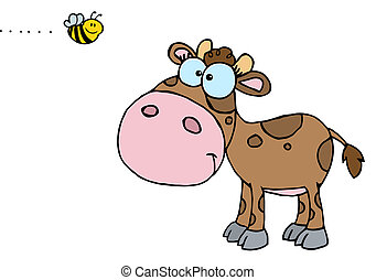 Brown Calf Watching A Bee - Mascot Cartoon Character Cute...