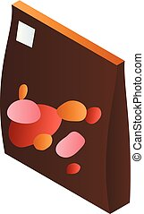 Brown candy package icon, isometric style