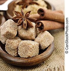 Brown Cane Sugar,Cinnamon And Anise Star - Raw Brown Cane...