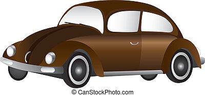 brown car - brown old car isolated over white background....