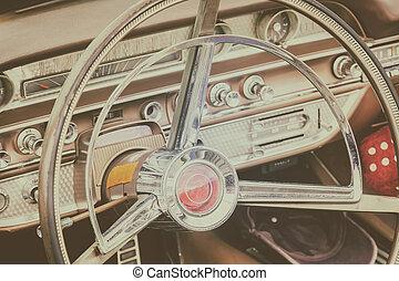 Brown car interior of a fifties American classic car