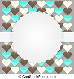 Brown card template with hearts