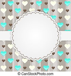 Brown card template with many hearts