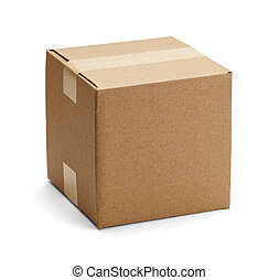 Brown Cardboard Box - Closed cadboard box taped up and...