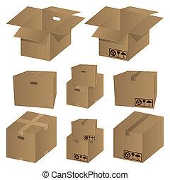 Brown cardboard icons set