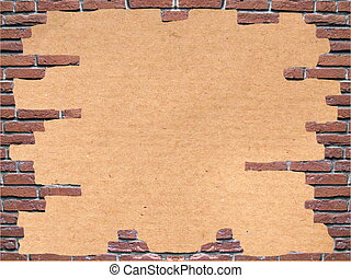 Brown cardboard in a  brick frame
