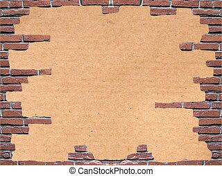 Brown cardboard in a  brick frame