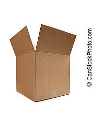 Brown cardboard moving box on white