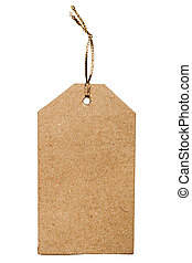 Brown cardboard price tag with golden rope