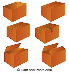 brown cardboard shipping box vector illustration