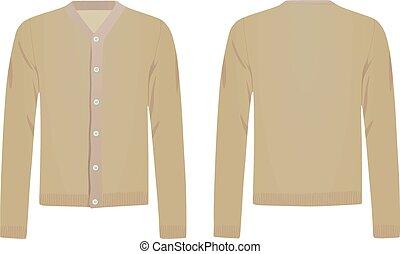 Brown cardigan. vector illustration