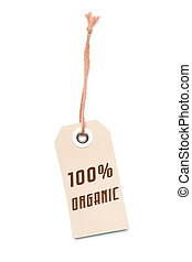 Brown carton 100% Organic label tag