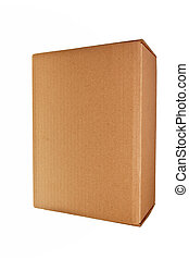 Brown carton box isolated over white background.