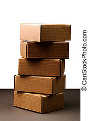 boxes on grey background - brown carton boxes on grey ...